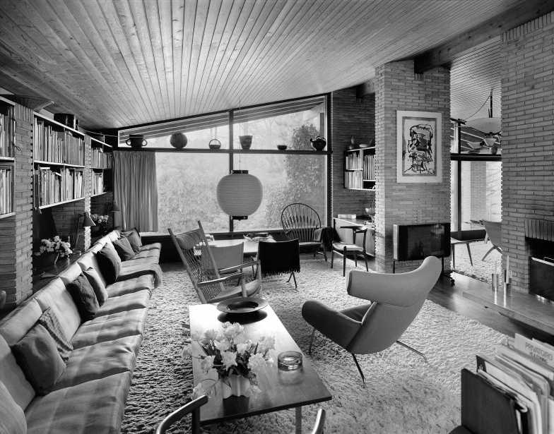 Wegners Haus In Tinglevvej, Blick Von Seinem Schreibtisch Ins Wohnzimmer
