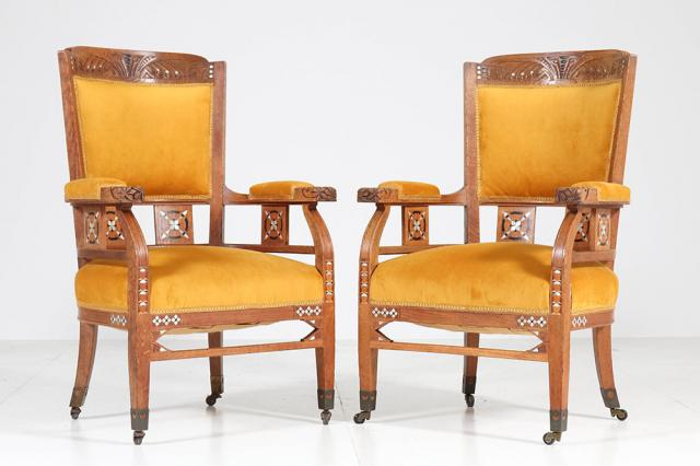 Antique chairs and side tables for classic seating arrangements