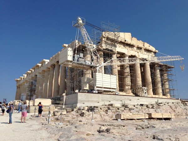 The Parthenon undergoing restoration.