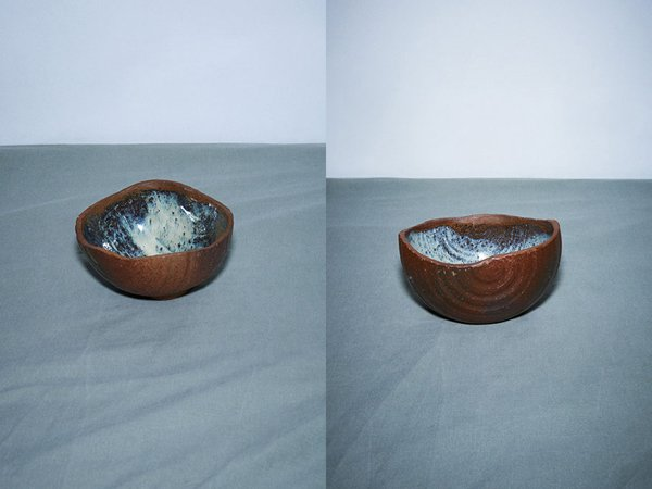 Handmade pottery coconut, made in Japan.