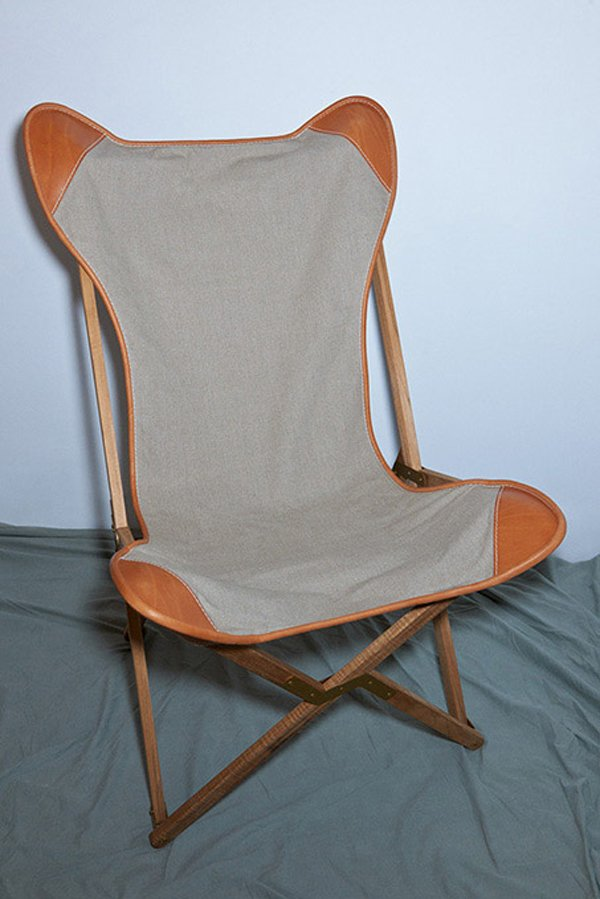 Leather and canvas handmade armchair with a handmade swedish teak structure, made in Italy.