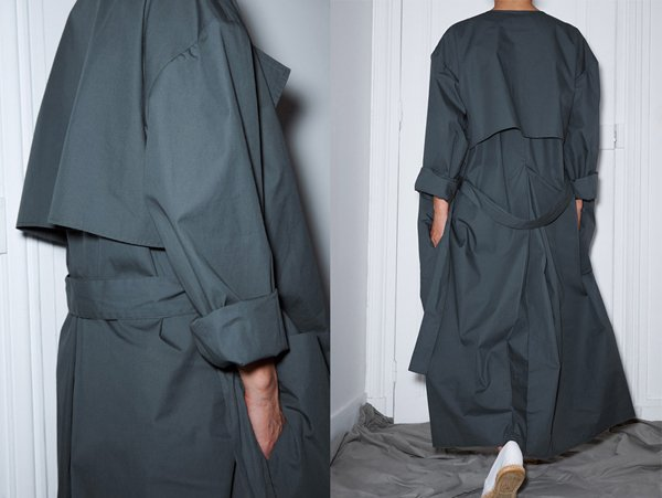 Maxi trench coat in English waxed cotton, made in France.
