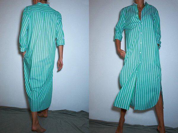 Maxi Mao shirt in Japanese striped cotton, made in France.