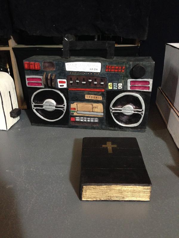 Camilla Barnard, bible, boombox