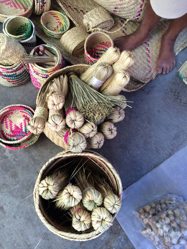 Oaxaca, Market, weavings, baskets