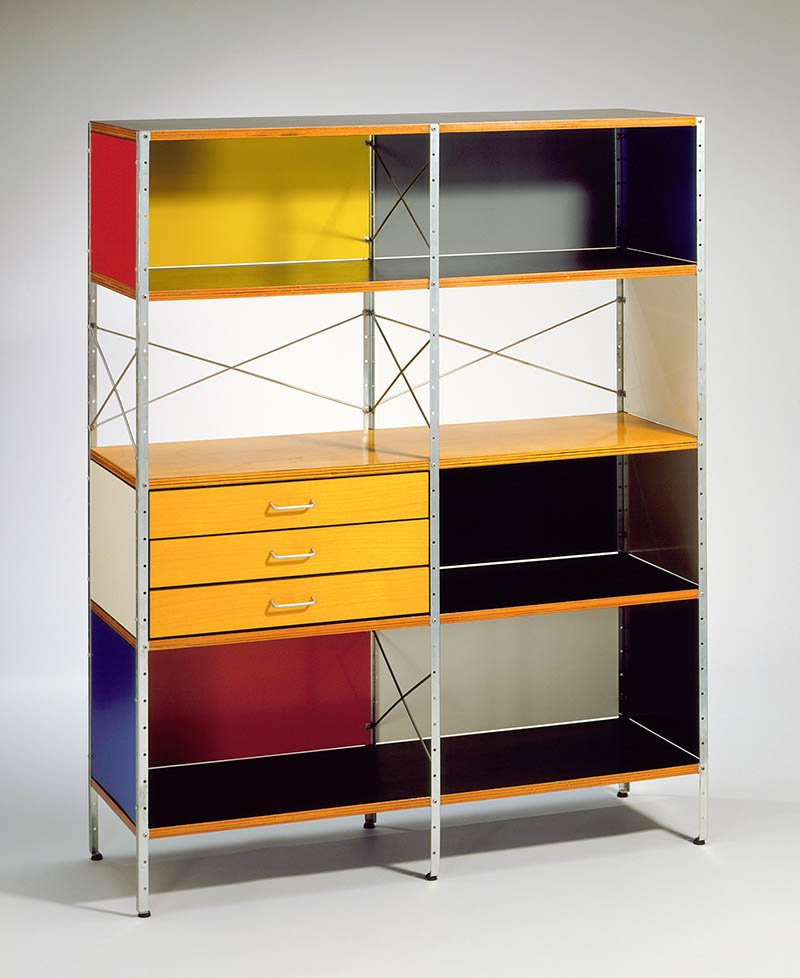 Charles Eames and Ray Eames, ESU (Eames storage unit), c. 1949. Herman Miller Furniture Company. Gift of Mr. Sid Avery and Mr. James Corcoran. Eames Office LLC and Herman Miller Inc. Photo © 2011 Museum Associates/LACMA.