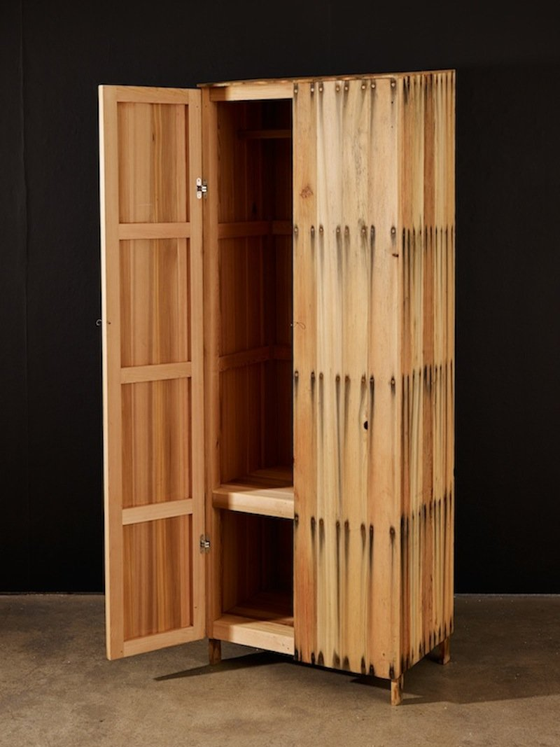 Peter Marigold. Bleed Wardrobe, 2014. Cedar wood, steel nails, 206 x 74 x 49 cm (2)