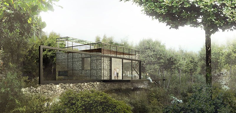 rendering of the main family home from the Garlic House project