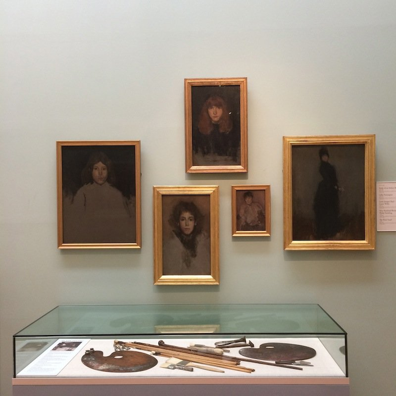 James Abbott McNeill Whistler's paintings, brushes, and palettes at the Hunterian Art Gallery