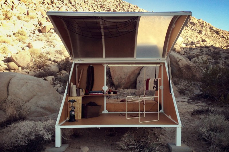 Betil's teardrop trailer and a woven chair in the works