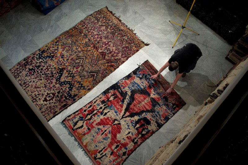 Gebhart photographing rugs in Marrakesh, 2011