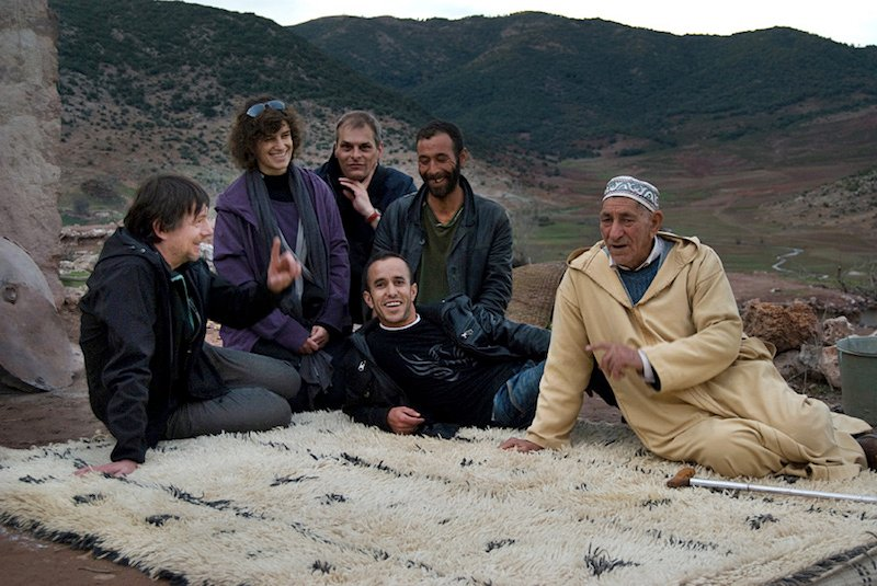 Gebhart Blazek (far left) on a field research trip, just after a successful rug acquisition, 2009