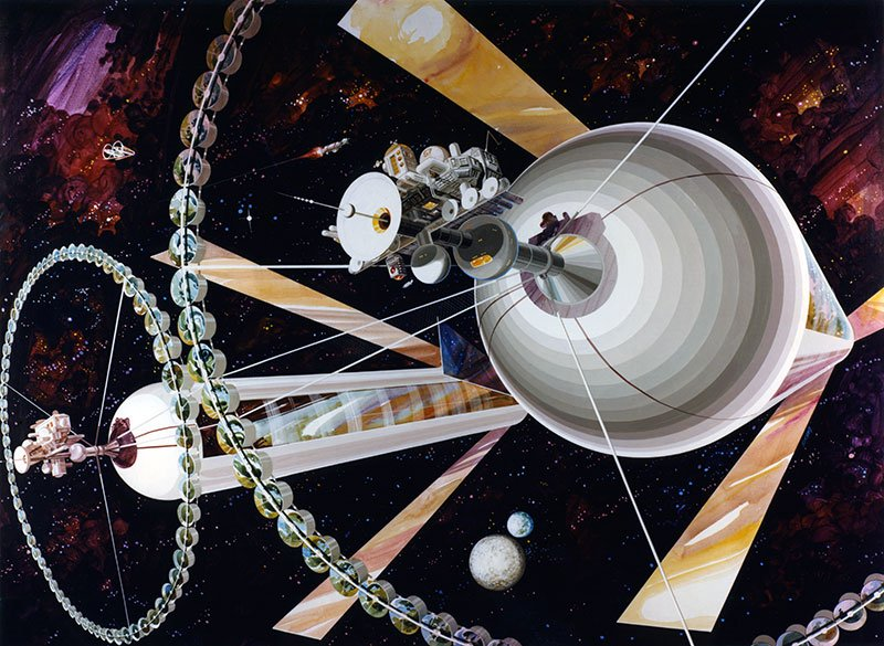 Exterior view of a double cylinder colony. Artwork by Rick Guidice; NASA Ames Research Center
