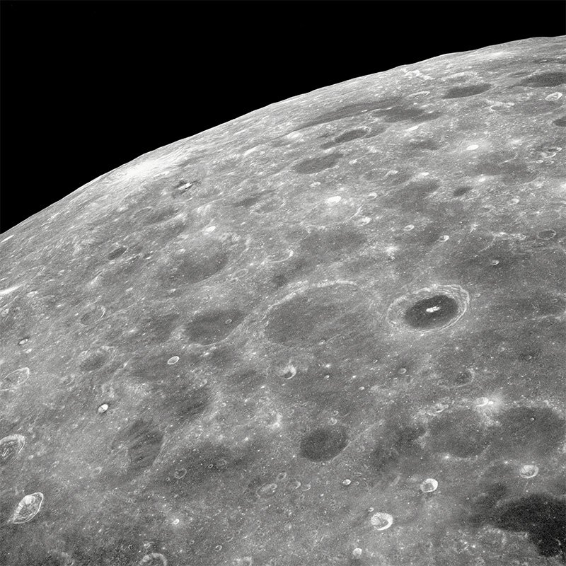The Lunar Farside: View of the lunar surface taken from the Apollo 8 spacecraft looking southward from high altitude across the Southern Sea.