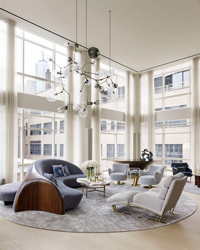 Tribeca Triplex designed by Amy Lau. Photo by Bjorn Wallander. Chandelier by Lindsey Adelman.