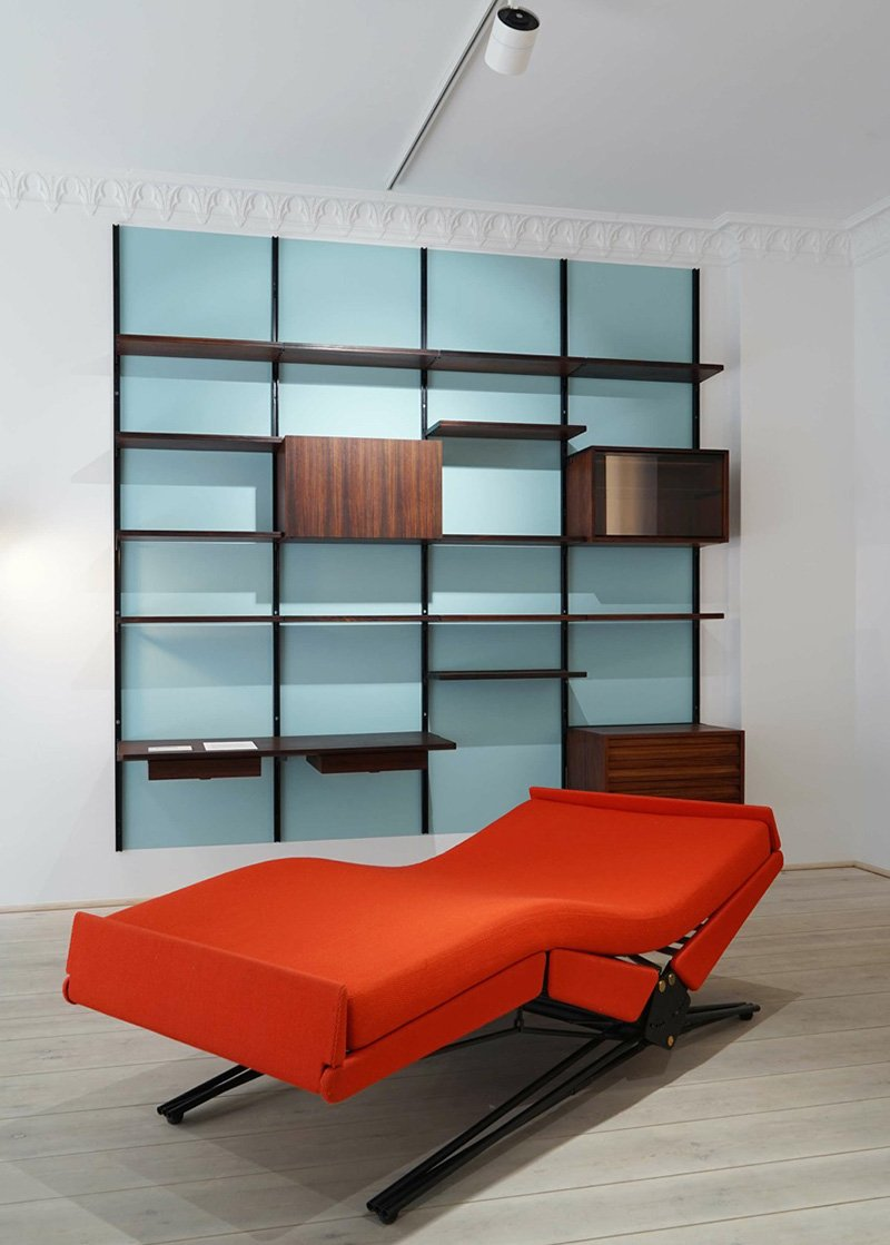 Daybed L77 (1957) and Library E22 (1951) by Borsani/Tecno.
