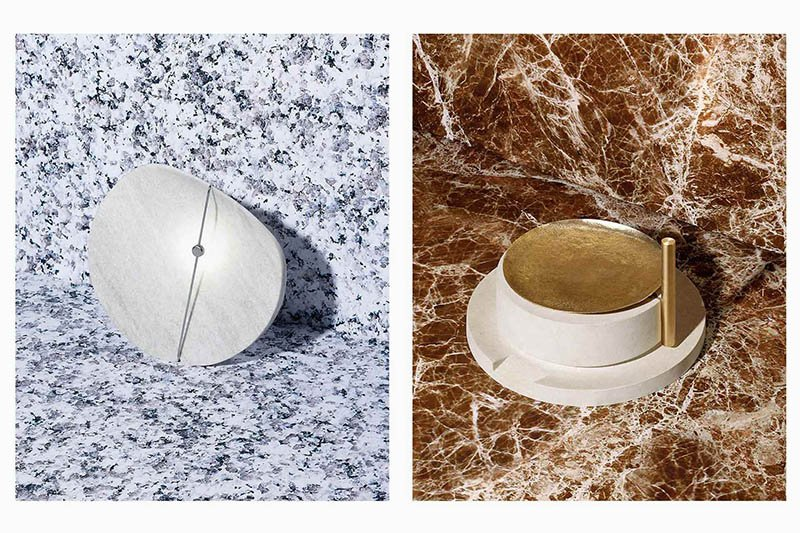 Left: Eclipse lamp in crystalline marble, polished steel and LED, designed by ECAL/Annie Tung, realized by sculptor Vincent Du Bois. Right: La Macina millstone made of Galala marble, chiseled and cast bronze, designed by ECAL/Stefano Panterotto, realized by stone sculptor Luca Bellei. Photos by Jonas Marguet.