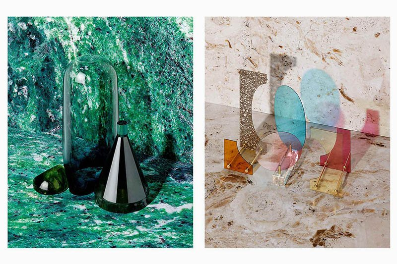 Left: Natura Morta glass composition by ECAL/Nicolas Lalande, realized by glassblower Matteo Gonet. Right: L.O.D. (Light Dependant Object) designed by ECAL/Kaja Solgaard Dahl, realized by glassmaker Roland Béguin. Photos by Jonas Marguet.