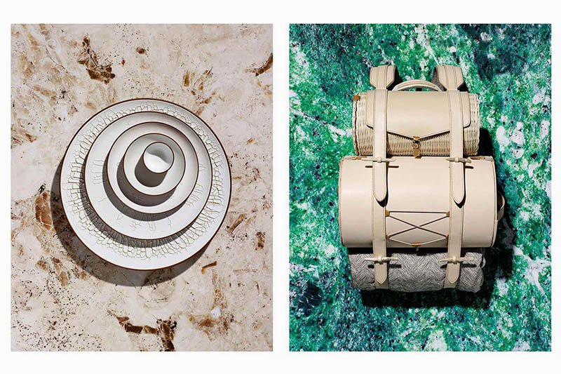Left: Paysages Désertiques enameled clay plates, designed by ECAL/Josefina Munoz, realized by ceramist Peter Fink. Right: Aventure Romantique picnic bag in leather, rattan and steel, designed by ECAL/Alexis Tourron, realized by saddle maker Patricia Rochat. Photos by Jonas Marguet.