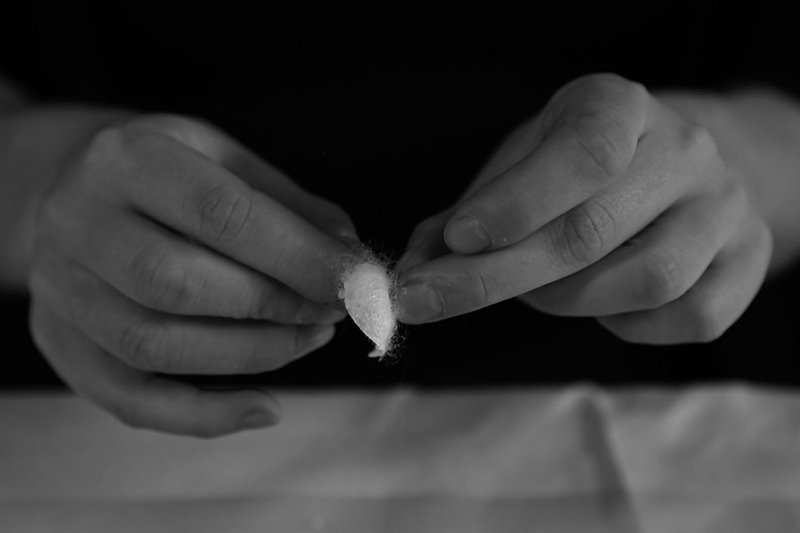 Huissoud separates a silkworm cocoon, photo © Thibault Picazo Y. & Combal Weiss H. from Studio Immatters (2014)