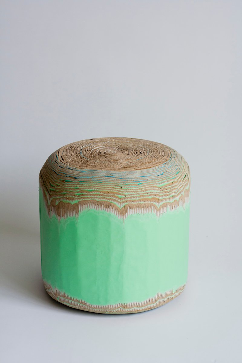 Cardboard Stool by Luisa Kahlfeldt, composed of rolled-up laminated corrugated cardboard