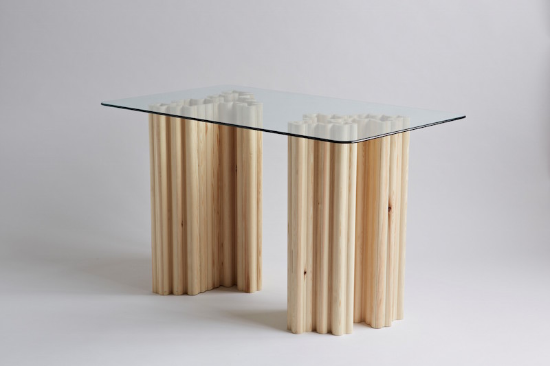Mouldings Table by Soft Baroque, created from hardware-shop-sourced wood architectural moldings