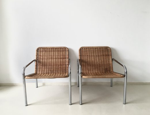 Vintage Wicker And Metal Lounge Chair, 1960s