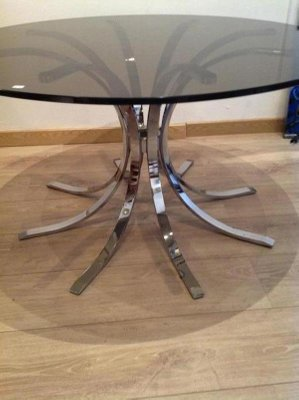 Base Per Tavolo In Vetro.Grey Smoked Glass And Chromed Steel Round Side Table With Sheaf