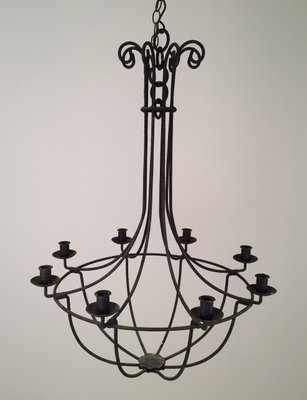 6 Arm Wrought Iron Cage Chandelier 1940s 1