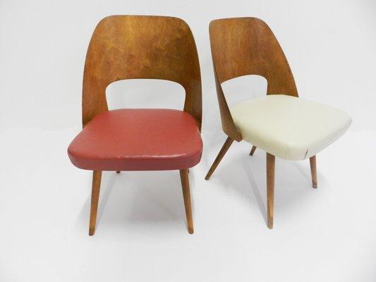 Dänische Stühle In Rot U0026 Weiß, 1950er 1