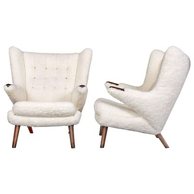 Sheepskin Papa Bear Chairs By Hans J. Wegner For AP Stolen, Set Of 2
