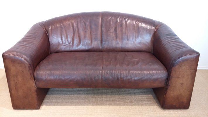 Brown Vintage 2-Seater Leather Sofa from De Sede, 1970s