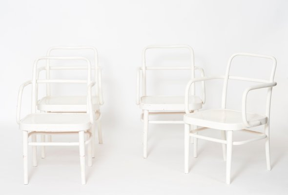 Austrian A 64 F White Bentwood Chairs By Adolf Schneck For Thonet, 1929, Set