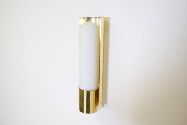 Applique in ottone e vetro opalino di glass factory limburg in