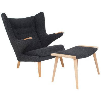 danish papa bear chair and ottoman by hans j wegner for ap stolen
