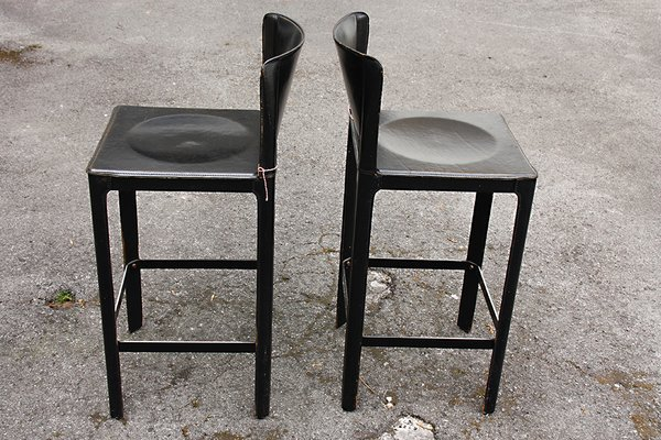 Surprising Vintage Italian Leather Bar Stools By Matteo Grassi Set Of 2 Machost Co Dining Chair Design Ideas Machostcouk