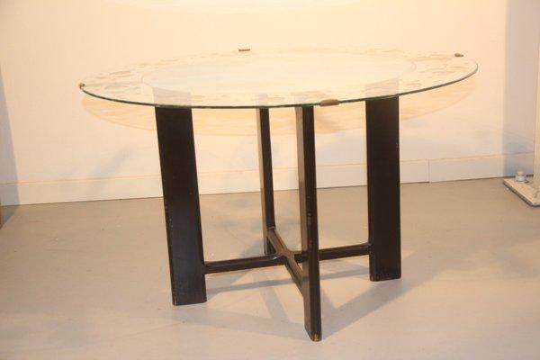 Tavolino da caffè rotondo vintage in vetro con foglie, anni \'50 in ...