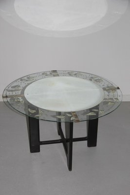 Vintage Round Glass Coffee Table With Leaf Pattern 1950s For Sale