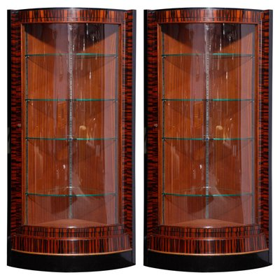 French Art Deco Corner Display Cabinets 1935 Set Of 2 1