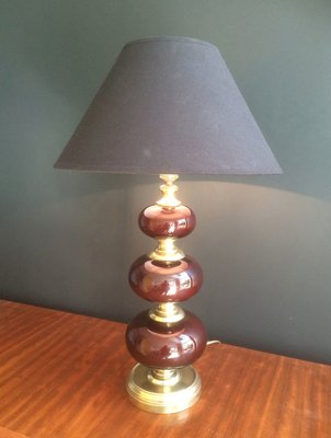 Vintage Brass Table Lamp With Red Glass For Sale At Pamono
