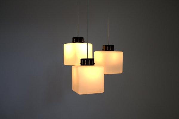 Lampe A Suspension Cube En Verre Laiteux De Stilnovo Italie 1960s