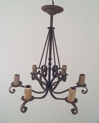 Sechs Kerzen Schmiedeeisen Kronleuchter, 1920er bei Pamono kaufen