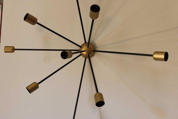 Vintage Sputnik Lampe Mit 9 Leuchten In Schwarz Gold Von Juanma