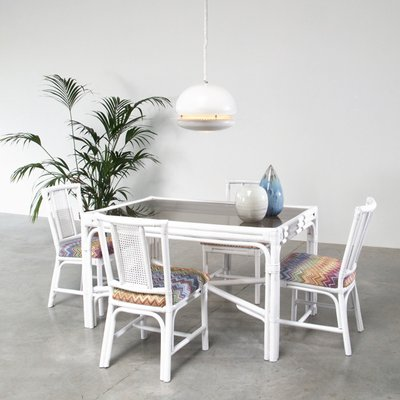 Awe Inspiring White Rattan Dining Set With Four Chairs In Missoni Fabric Unemploymentrelief Wooden Chair Designs For Living Room Unemploymentrelieforg