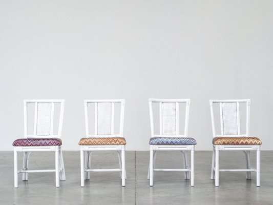 Amazing White Rattan Dining Set With Four Chairs In Missoni Fabric Ncnpc Chair Design For Home Ncnpcorg
