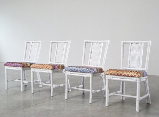 Admirable White Rattan Dining Set With Four Chairs In Missoni Fabric Unemploymentrelief Wooden Chair Designs For Living Room Unemploymentrelieforg