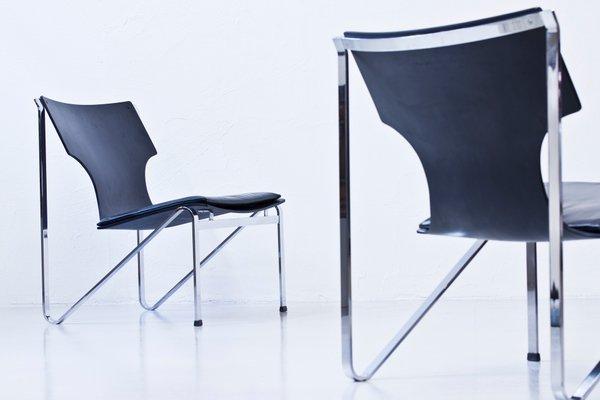 Sedie Design Legno E Pelle.Sedie In Legno Metallo Cromato E Pelle Di Sigur Persson Per Ary