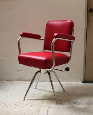 Chrome And Red Leather Desk Chair 1930s 1