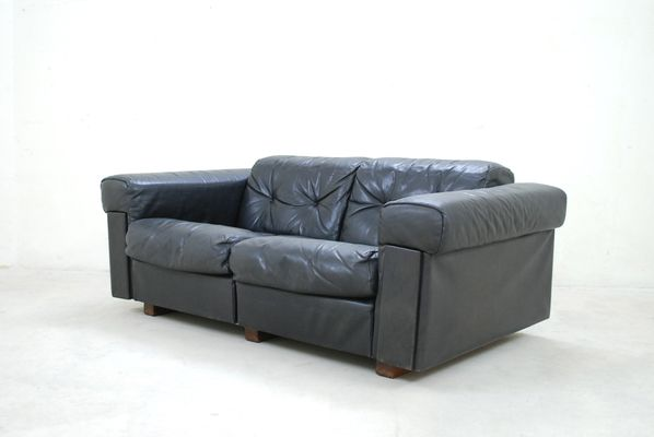 Black Leather Two Seater Sofa From De Sede 1970 18