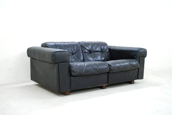 Black Leather Two Seater Sofa From De Sede 1970 For Sale At Pamono